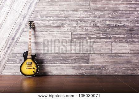 Electric Guitar In Wooden Studio