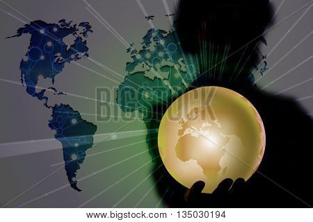 Person holding earth in globalisation concept