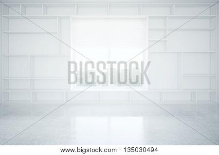 Interior With Empty Bookcase