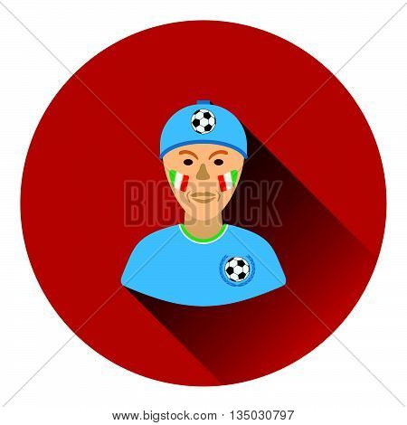 Football Fan With Painted Face By Italian Flags Icon