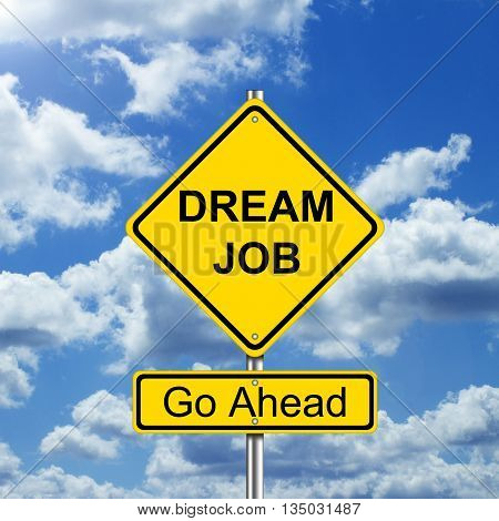 Dream job concept with road sign and sky