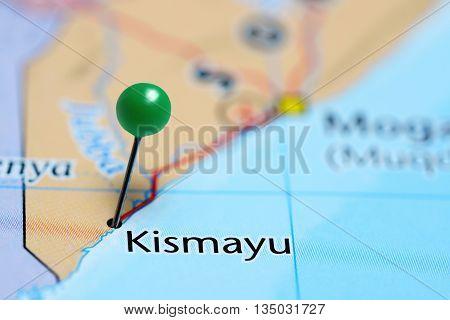 Kismayu pinned on a map of Somalia