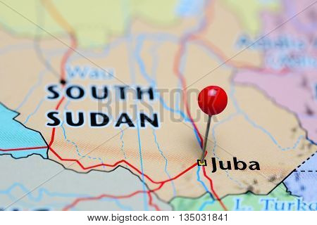 Juba pinned on a map of South Sudan