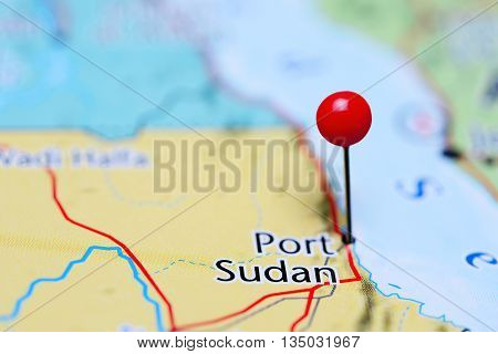 Port Sudan pinned on a map of Sudan