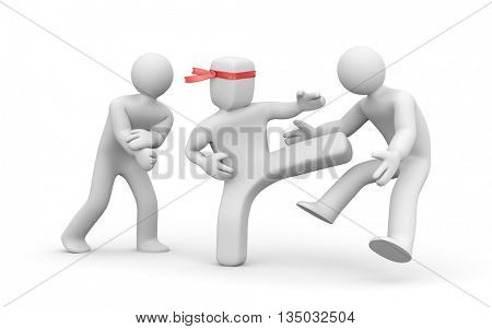 Square head man stabs round head men. 3d illustration