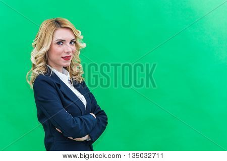Portrait of Young woman in suits. Bearded Wearing blue suit she has blonde hair and blue or blue eyes on a white background. Smile always smiling.