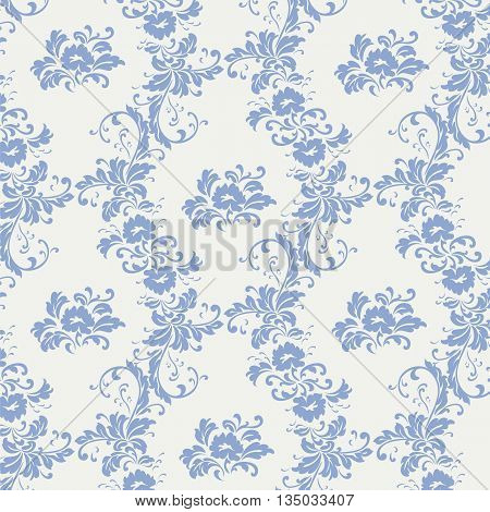 Vintage ornament pattern with serenity blue flowers. Vector