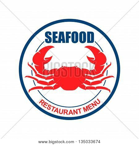 Atlantic red crab on dinner plate with text Seafood and Restaurant Menu. Retro stylized symbol for restaurant or bar menu design