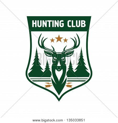 Retro badge for hunting club design. Dark green medieval shield with head of a deer crowned by stars and silhouettes of fir trees on the horizon