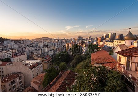 Rio de Janeiro City Center and Downtown by Sunset View from Santa Teresa
