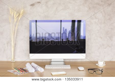 Screen With City Reflection