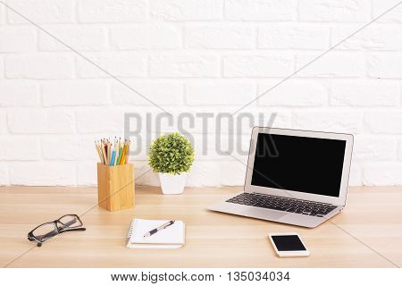Creative Desk With Laptop