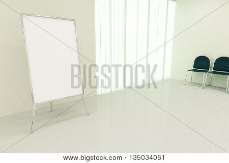 Blank whiteboard stand in conference room interior with seats and window with blinds. Mock up 3D Rendering