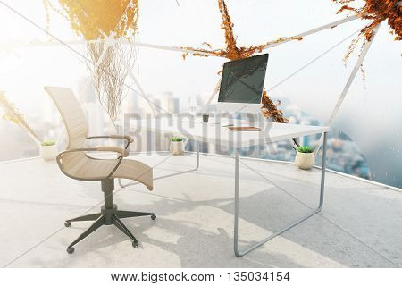 Creative office interior with plants growning on panoramic windows concrete floor and workspace with computer monitor and stationery items. 3D Rendering