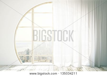 Creative interior design with round window wooden floor and light curtains. 3D Rendering