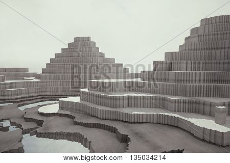 Abstract patterned concrete pyramids on light background. 3D Rendering