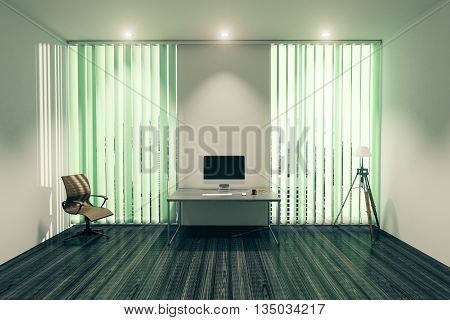 Modern office interior with blank computer monitor on desk chair floor lamp and windows with blinds. Mock up 3D Rendering