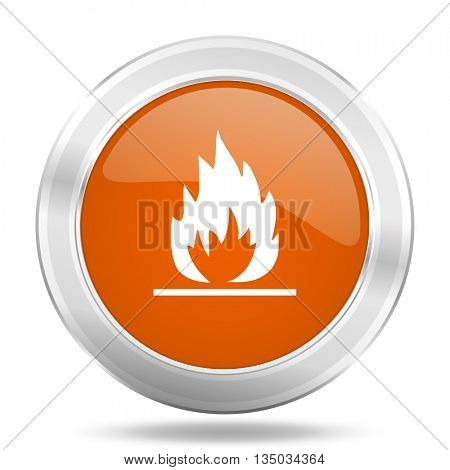 flame vector icon, orange circle metallic chrome internet button, web and mobile app illustration