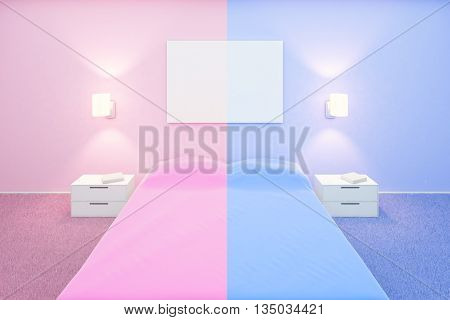 Creative bedroom interior with blank whiteboard pink and blue sides for him and her. Mock up 3D Rendering
