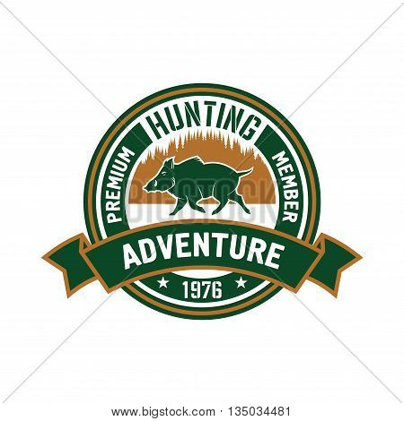 Premium member of hunting club badge design with brown and green round symbol with running wild boar against forest skyline, supplemented ribbon banner with caption Adventure