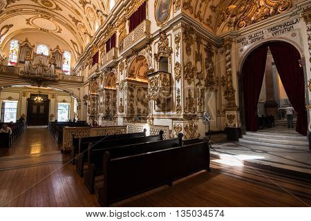 Rio de Janeiro, Brazil - June 13, 2016: Interior of the Church of Our Lady of Mount Carmel of the Ancient See, located in city center.