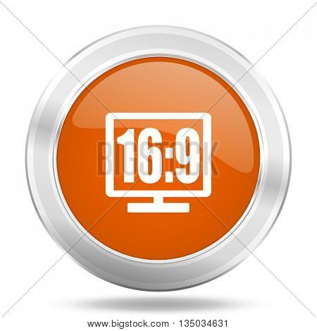 16 9 display vector icon, orange circle metallic chrome internet button, web and mobile app illustration