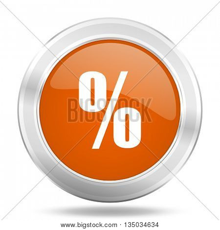 percent vector icon, orange circle metallic chrome internet button, web and mobile app illustration