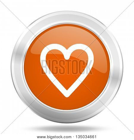 heart vector icon, orange circle metallic chrome internet button, web and mobile app illustration