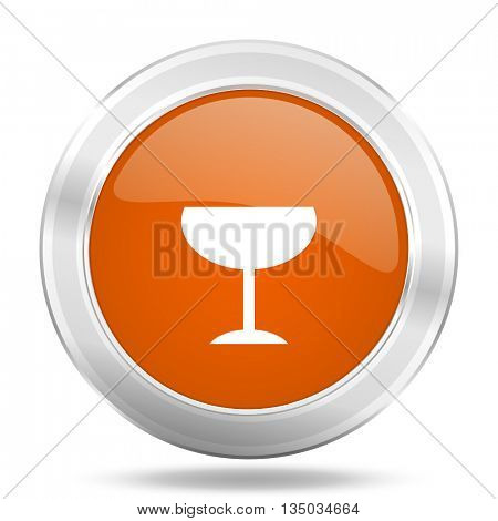 alcohol  vector icon, orange circle metallic chrome internet button, web and mobile app illustration