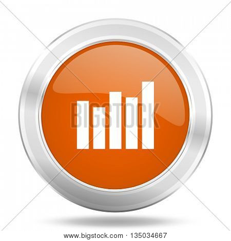graph vector icon, orange circle metallic chrome internet button, web and mobile app illustration