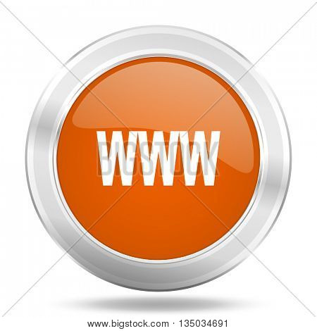 www vector icon, orange circle metallic chrome internet button, web and mobile app illustration