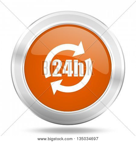 24h vector icon, orange circle metallic chrome internet button, web and mobile app illustration