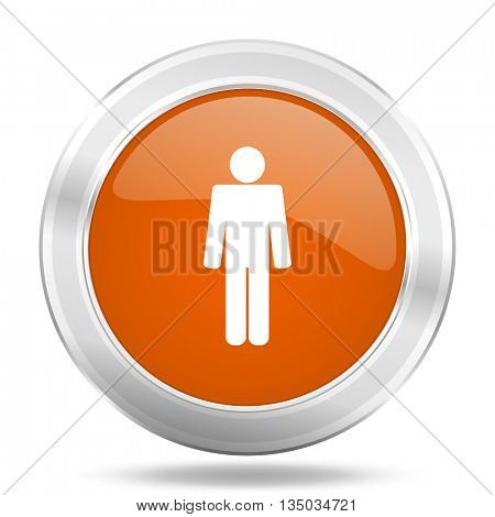 male vector icon, orange circle metallic chrome internet button, web and mobile app illustration