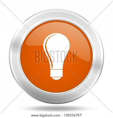 bulb vector icon, orange circle metallic chrome internet button, web and mobile app illustration