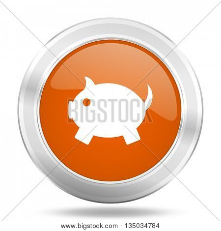 piggy bank vector icon, orange circle metallic chrome internet button, web and mobile app illustration