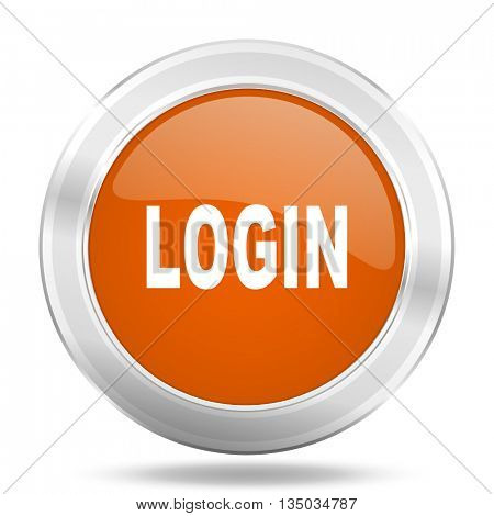 login vector icon, orange circle metallic chrome internet button, web and mobile app illustration