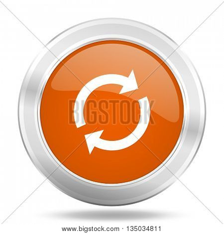 reload vector icon, orange circle metallic chrome internet button, web and mobile app illustration