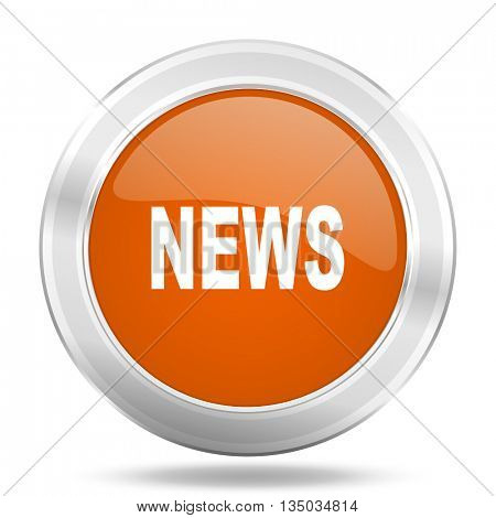 news vector icon, orange circle metallic chrome internet button, web and mobile app illustration