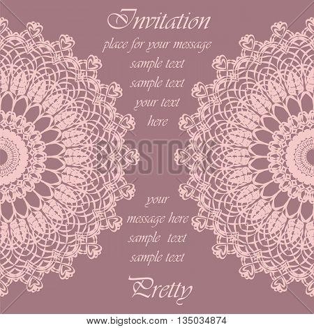 Invitation card with delicate crochet lace round ornament in rose quartz. Vector