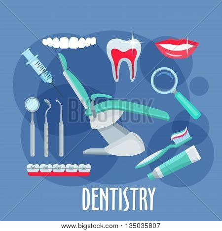 Dentist office equipments symbol for dentistry and healthcare design with healthy, clean teeth and smile, dental mirror, pick and probe, toothbrush, toothpaste and syringe, magnifier, braces and dentist chair in the center. Flat style