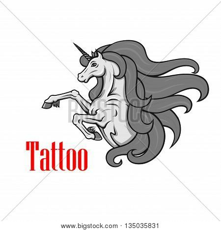 Gorgeous gray unicorn icon for tattoo or fairy tale character design with rearing up mythological horse with twisted horn