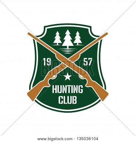 Dark green heraldic shield insignia with crossed hunting rifles and white silhouettes of fir trees, supplemented by foundation date and star. Hunting club or sporting contest design usage