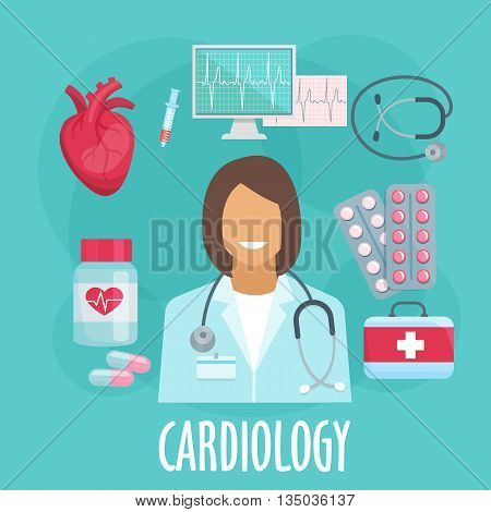 Heart screening and medication treatments of heart diseases symbol with cardiologist, heart, stethoscope and ecg monitor, medicine bottle with capsules and pills, syringe and first aid kit. Flat style