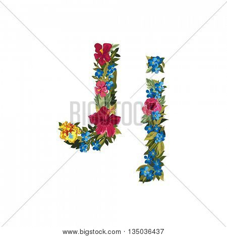 J letter. Flower capital alphabet. Colorful font. Uppercase and lowercase. Vector illustration. Grotesque style. Floral alphabet.