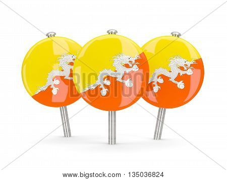 Flag Of Bhutan, Round Pins