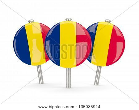 Flag Of Chad, Round Pins
