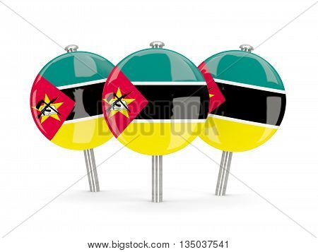 Flag Of Mozambique, Round Pins
