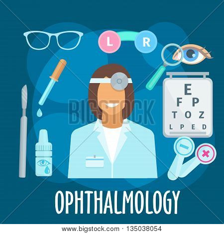 Smiling young woman ophthalmologist with eye examination equipments and medicines flat icon of visual acuity testing chart, eye occluders, glasses and eye drops, eye, magnifier and scalpel