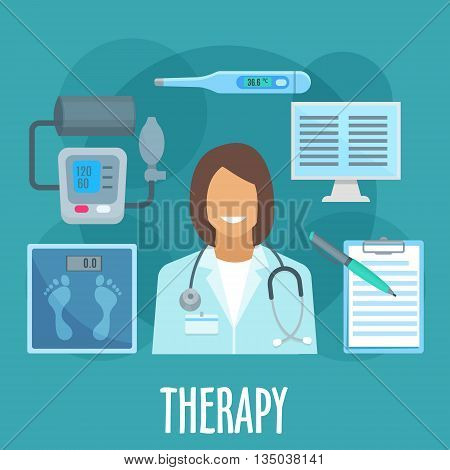 Therapy and primary healthcare symbol of woman physician with stethoscope, surrounded by flat icons of thermometer, blood pressure monitor and scales, medical examination form and computer. General practicioner profession design
