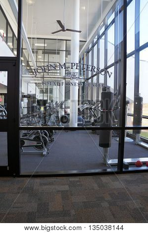 JOLIET, ILLINOIS / UNITED STATES - OCTOBER 25, 2015: Joliet Junior College students may exercise in the John M. Peterson Total Fitness Center.